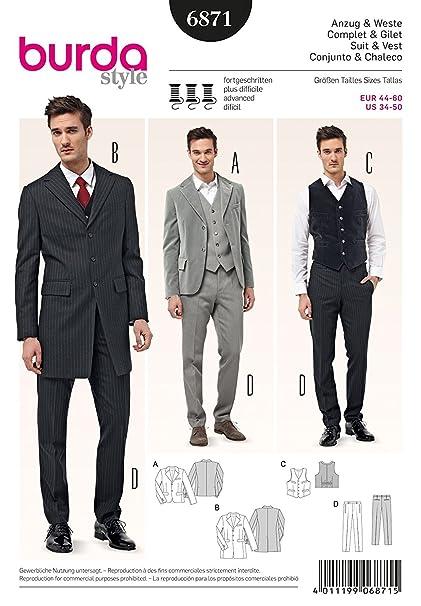 Amazon.com: Burda Mens Sewing Pattern 6871 - Suit Jackets, Waistcoat ...