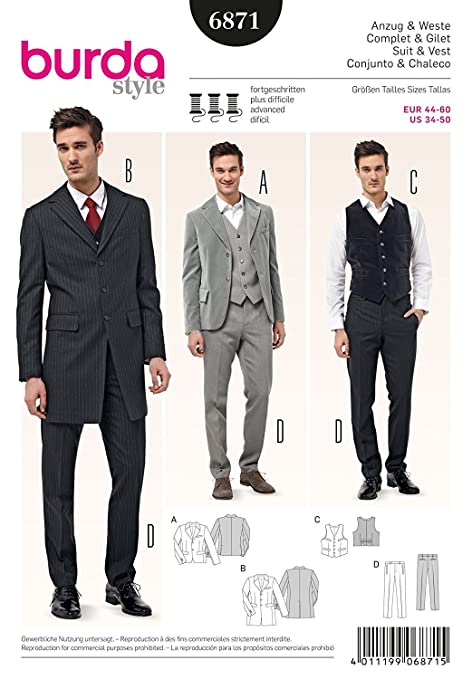 Men's Vintage Reproduction Sewing Patterns Burda Mens Sewing Pattern 6871 - Suit Jackets Waistcoat & Trousers by Burda $15.85 AT vintagedancer.com
