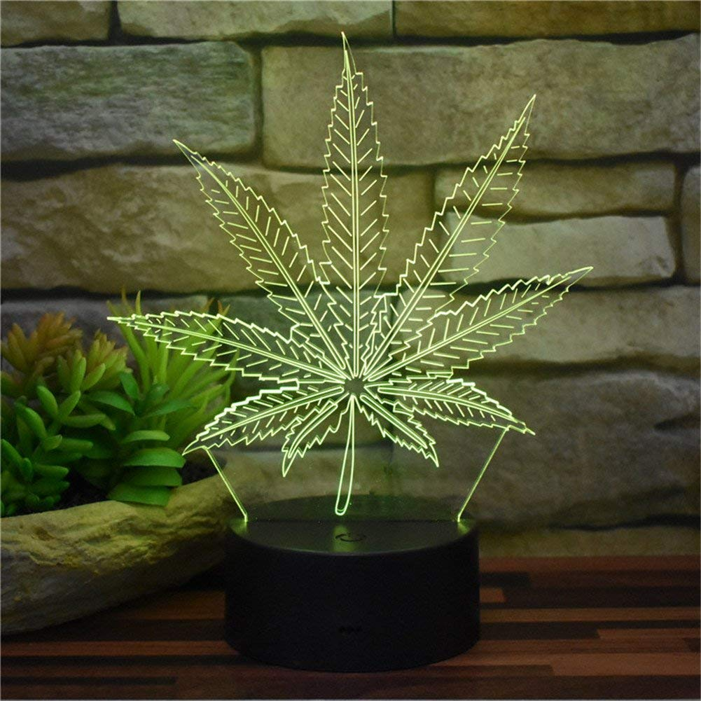 Novelty Lamp, Creative Home Decoration Night Light 3D Stereo Vision LED Maple Leaves USB Office Decoration Table Lamp Acrylic Touch Remote Control 16 Color Bedroom Sleep Light Maple L
