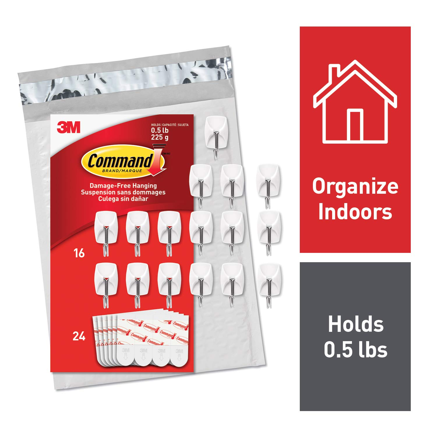 Command 3M Small Kitchen Hooks, White, Easy On, Easy Off, 16 Hooks, 24 Strips, (GP067-16NA)
