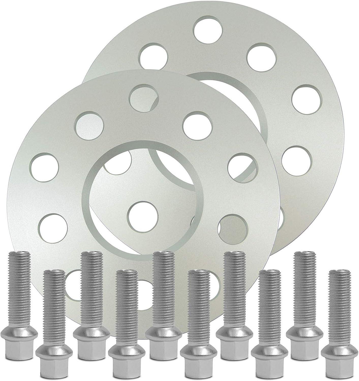 10213E/_36/_M1415KU334 SilverLine Spurverbreiterung 10mm mit Schrauben silber 5x112 66,6mm 5mm Rad