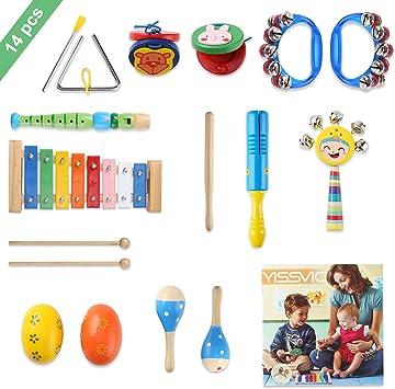 YISSVIC Juguetes de Instrumentos Musicales para Niños 14 en 1 Set ...