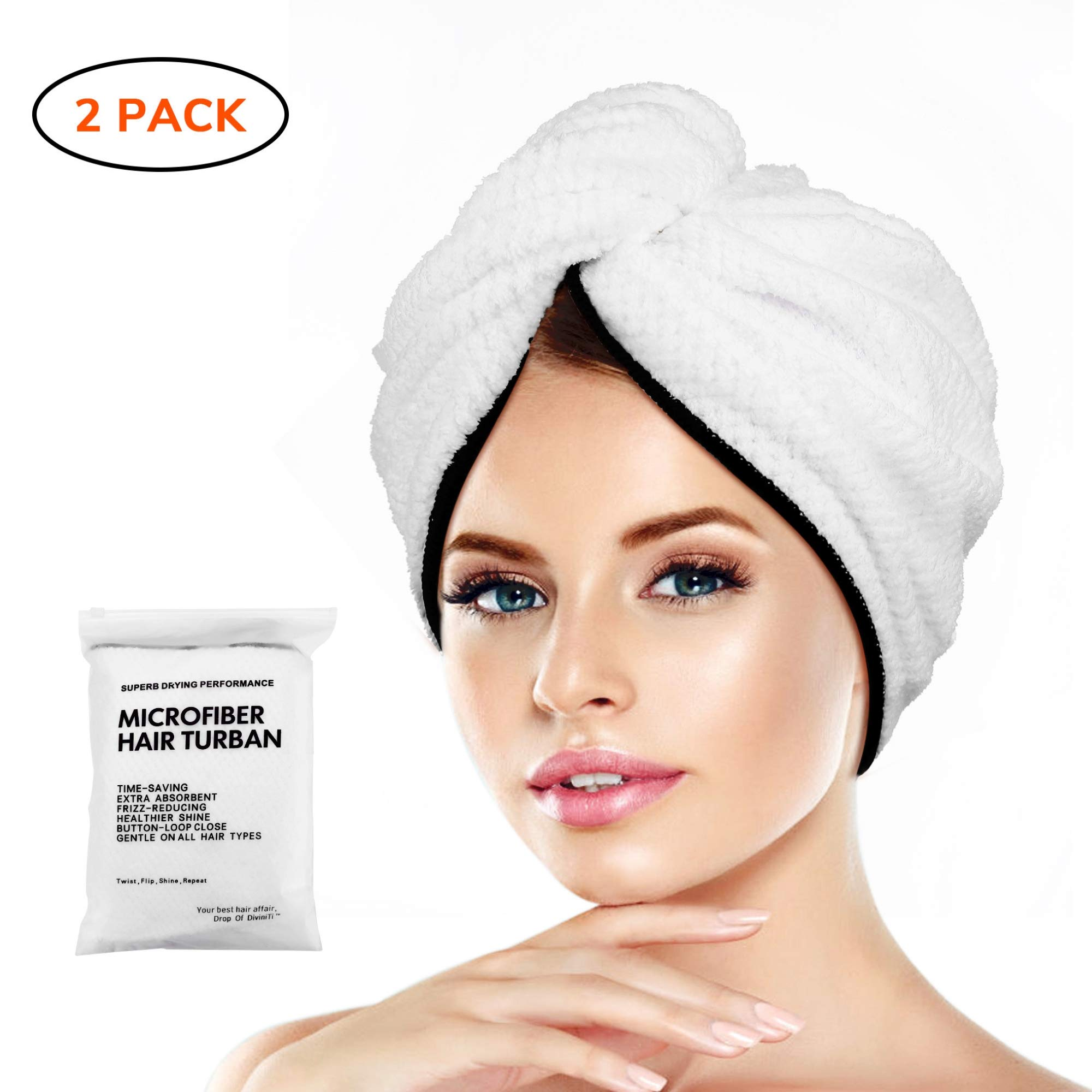 Microfiber Hair Towel Wrap Turban - Quick Dry Head Wraps Women Towel Hair Wrap Travel Towel Twist Hat Magic Drying Shower Wrap Absorbent Turbans Wrap for Sleeping Accessories - Double Hair Towel by DROP OF DIVINITI