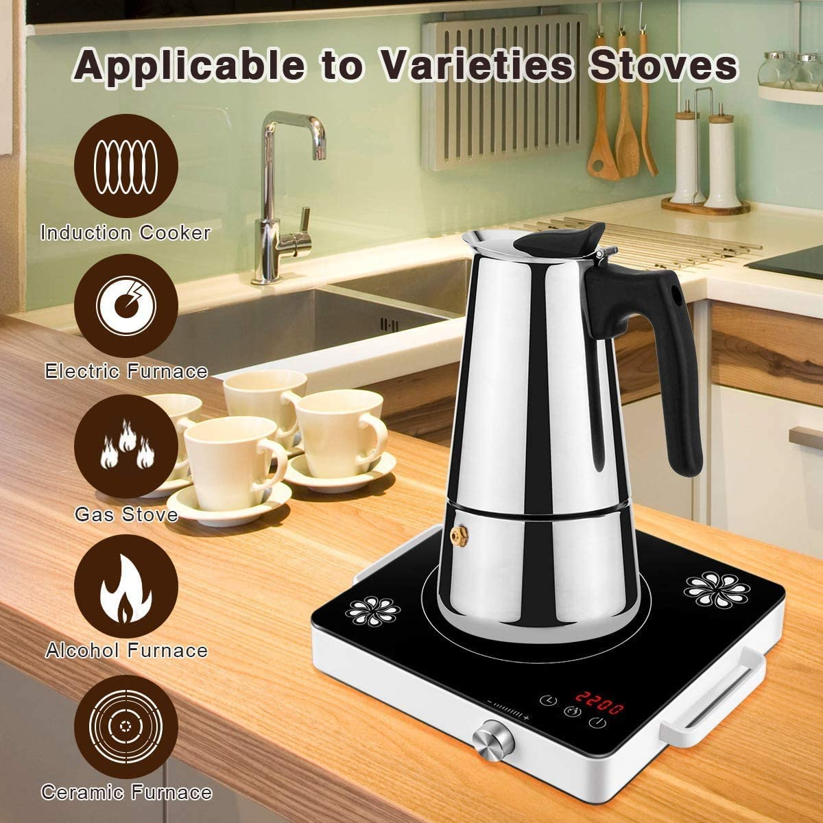 Stovetop Espresso Maker Percolator Coffee Pot Stainless Steel Moka Pot Home or Office Espresso Coffee Machines 4 Models for 1-9 People