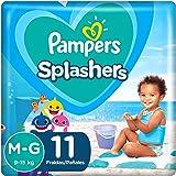 Fraldas Descartáveis Para Água Pampers Splashers Baby Shark M-G 11 Unidades, Pampers