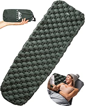 WELLAX Ultralight Air Mattress, High-Quality TPU Nylon Coating With Superior Air Cell Construction, Included Repair Kit