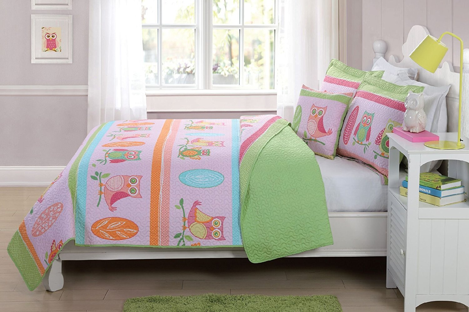 Elegant Home Cute Owl Design Fun Multicolor Pink Blue Orange Green Reversible 4 Piece Quilt Bedspread Set with Decorative Pillow for Kids/Girls (Full Size)