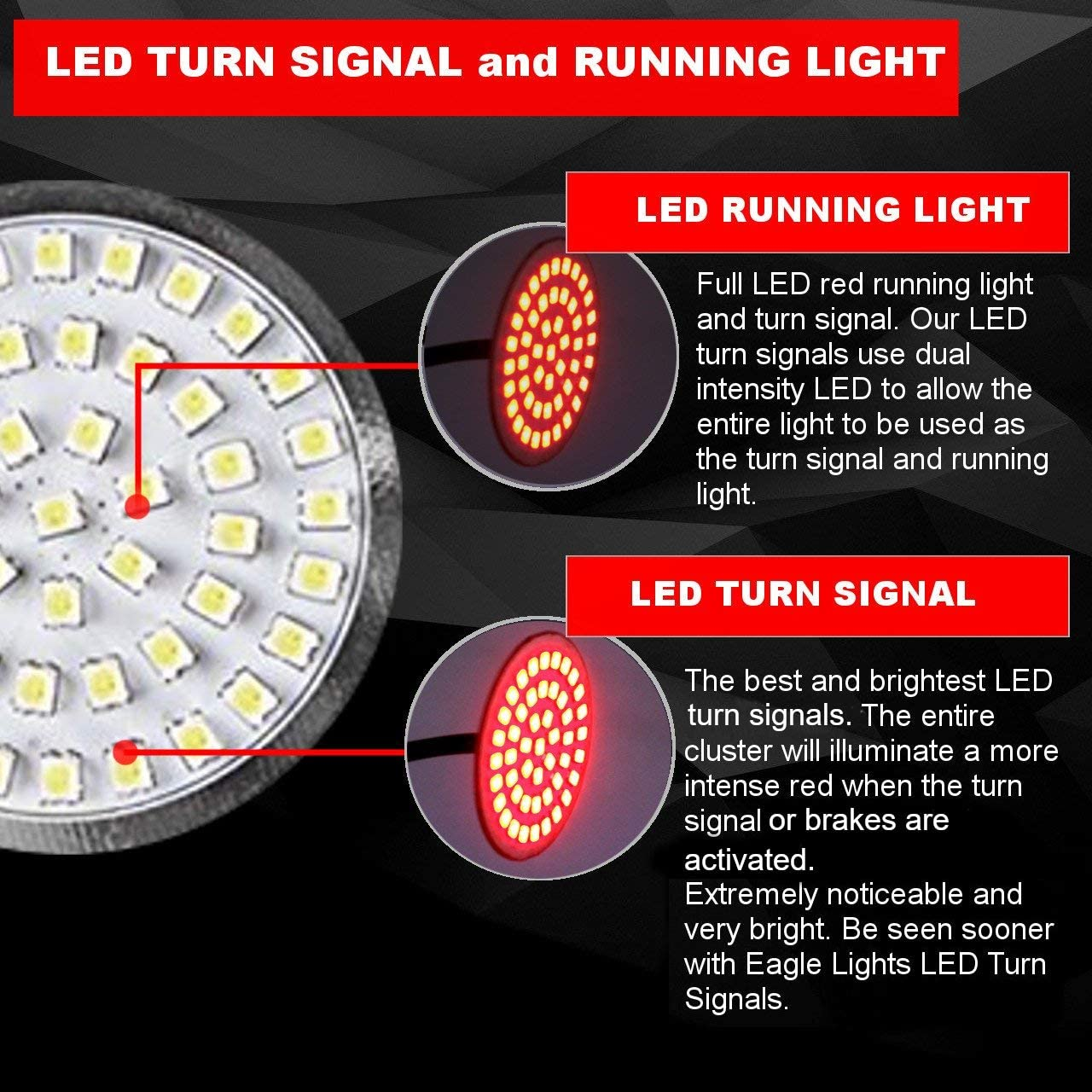 1157 Add Smoked Lenses and Rear Red LED Turn Signal Kit 1156 Eagle Lights 2 inch LED Generation II Turn Signals Front