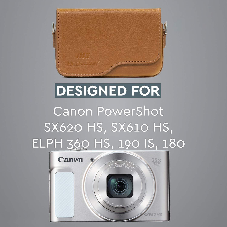 MegaGear MG1089 Etui de Protection avec Bandouli/ère en Cuir pour Appareil Photo Canon PowerShot SX620 HS//SX610 HS//IXUS 360 HS//IXUS 190 is//IXUS 180//IXUS 170 is Noir