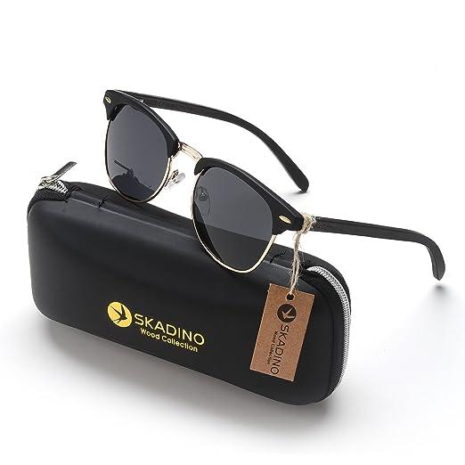 37fcf89dd4f SKADINO Clubmaster Beech Wood Sunglasses with Polarized Lens-Black Ebony  with Grey Lens SKD115