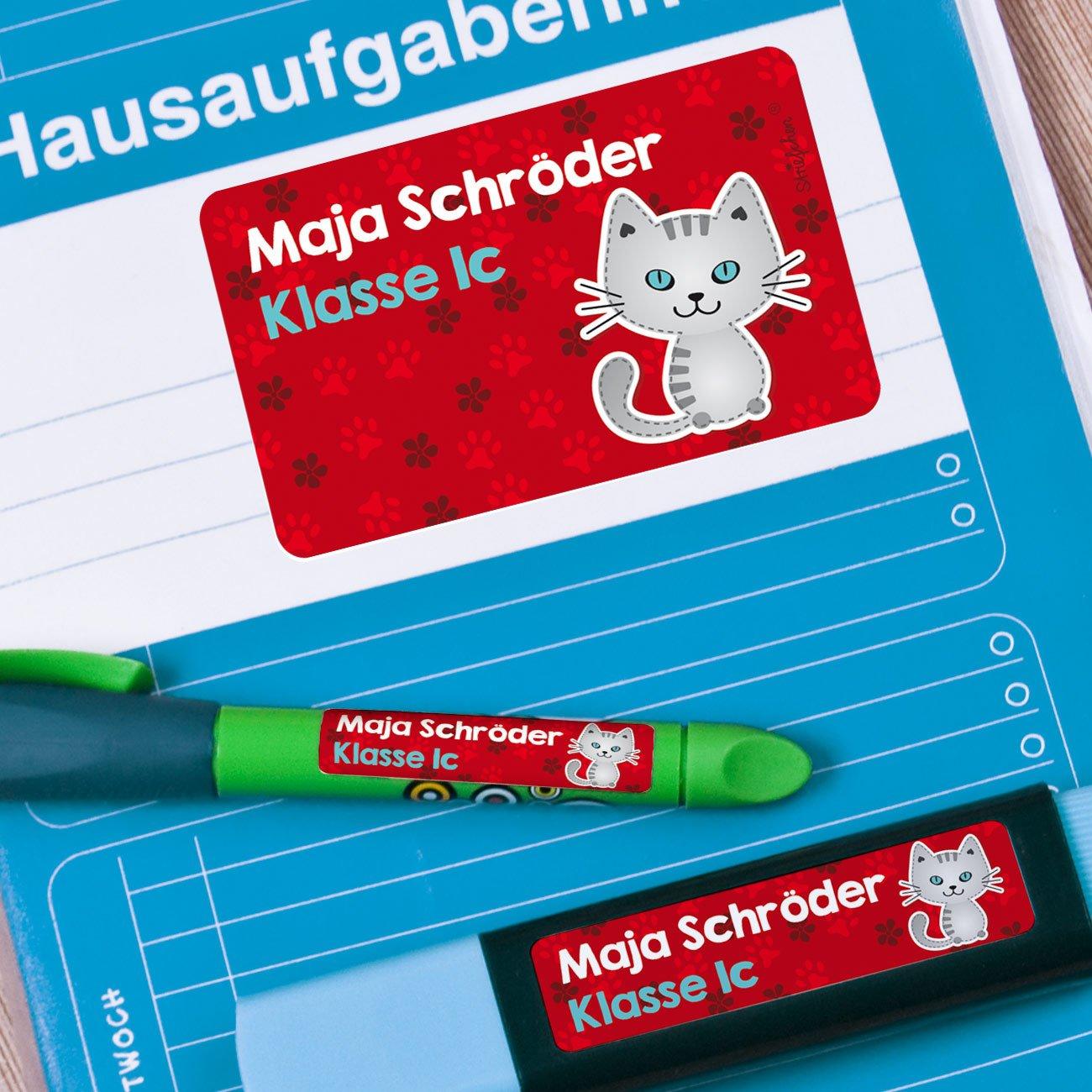 niedliches Kätzchen ideal zur Schuleinführung Heftaufkleber mit Namen