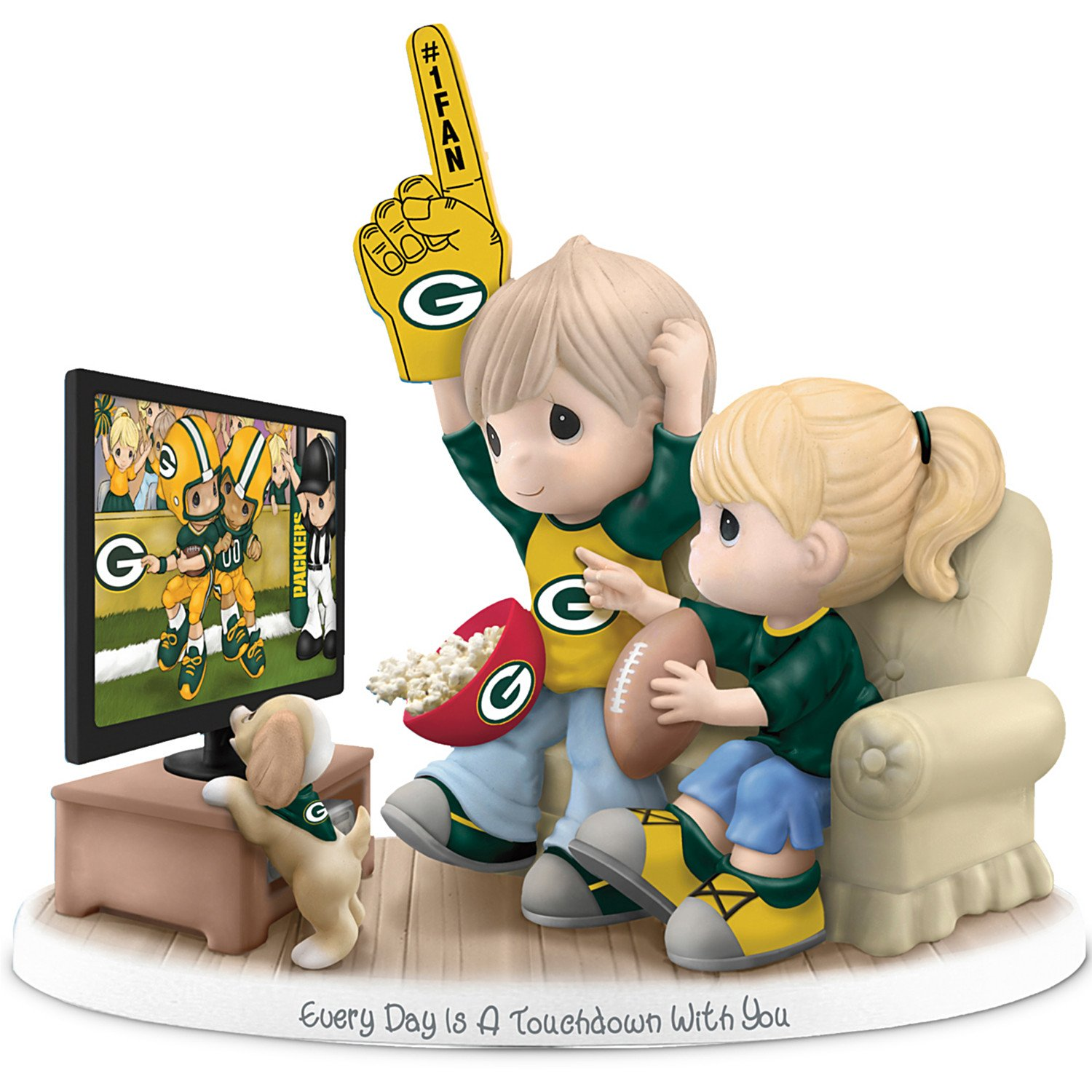 Figurine: Precious Moments Every Day Is A Touchdown With You Packers Figurine by The Hamilton Collection by The Hamilton Collection