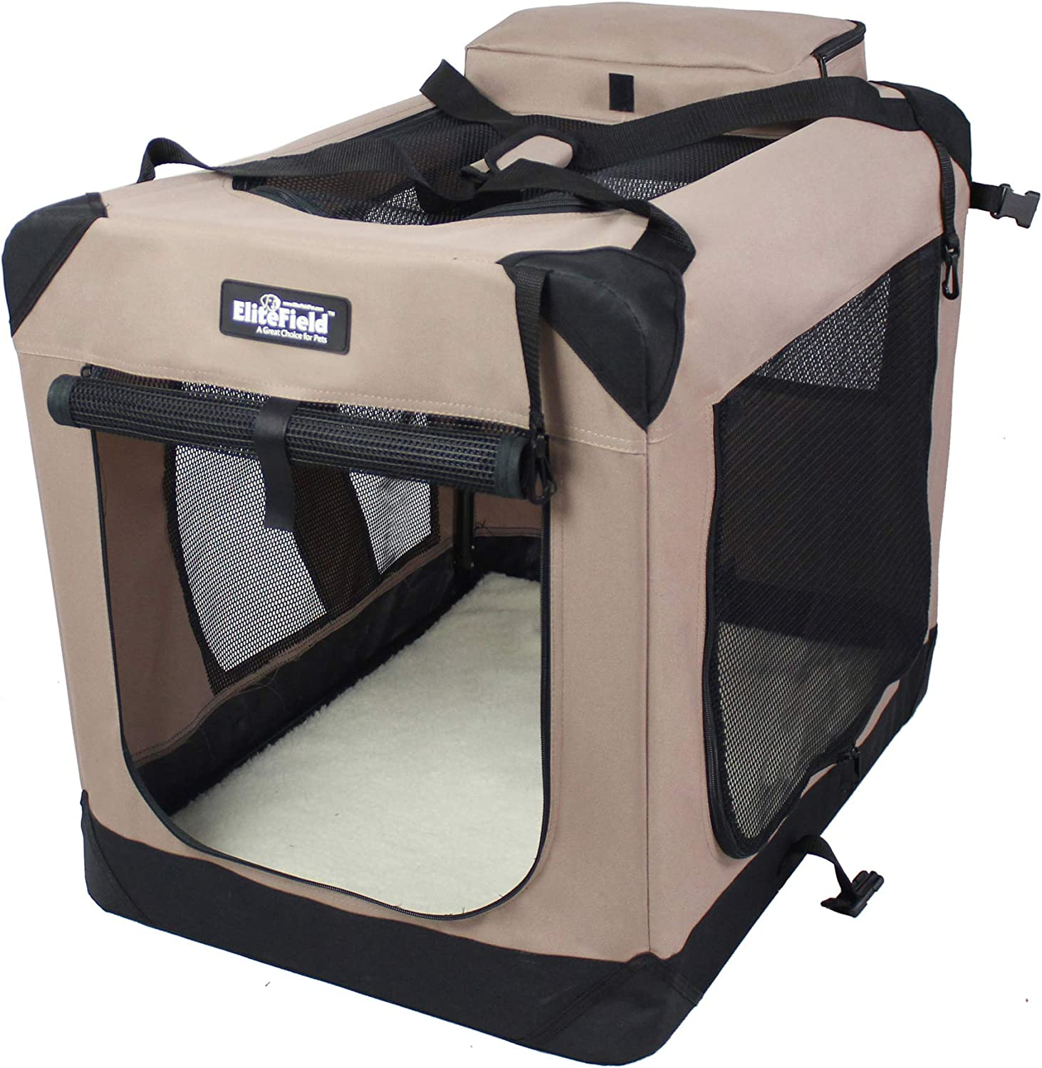 "EliteField 3-Door Folding Soft Dog Crate, Indoor & Outdoor Pet Home, Multiple Sizes and Colors Available (24"" L x 18"" W x 21"" H, Khaki)"