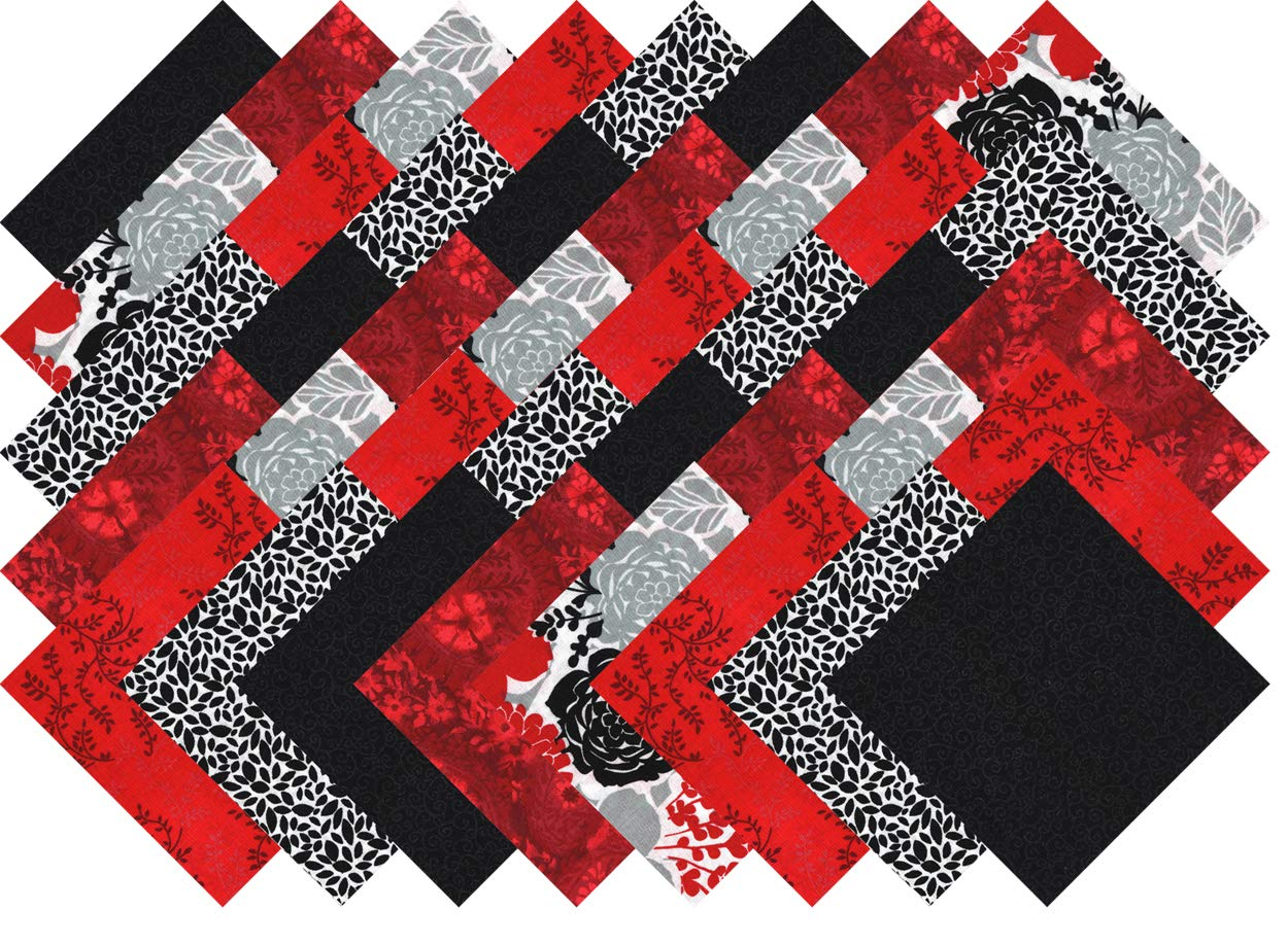 Red White and Black Blender Collection 40 Precut 5-inch Quilting Fabric Charm Squares Ducat Direct
