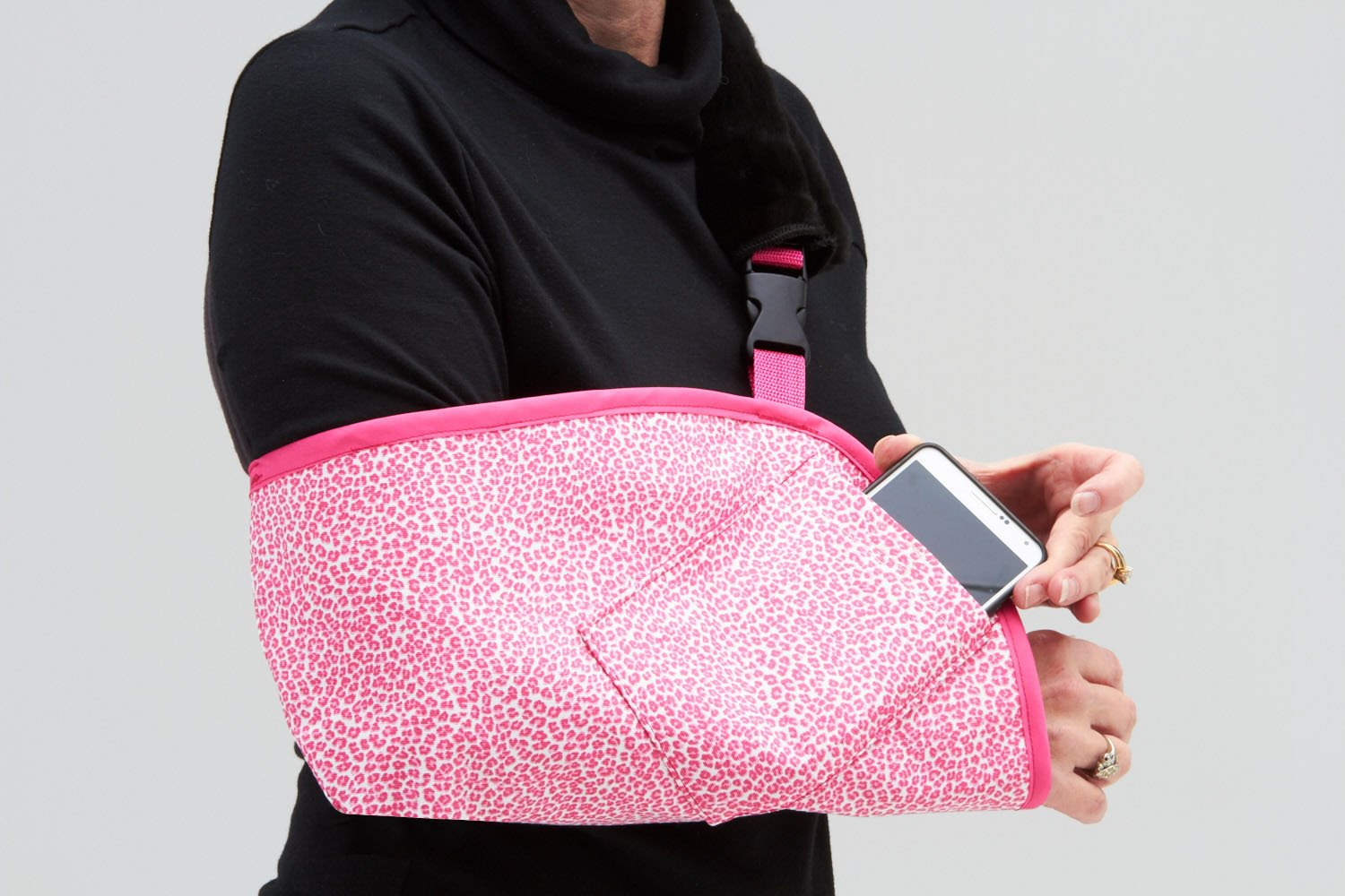 CastCoverz! Slingz! Designer Arm Sling in Seeing Spots Pink - Large Left Arm with Berry Pink Trim and Cell Phone Pocket