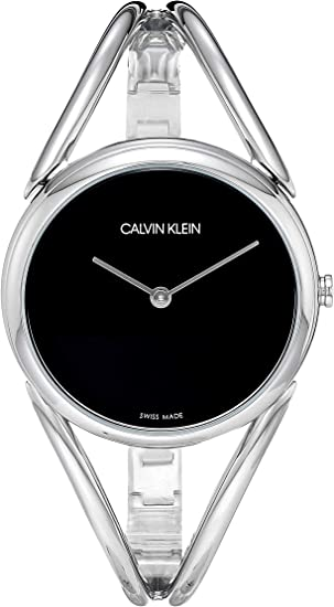 Calvin Klein Lady Women's Stainless Steel Bangle with Silver Dial Watch