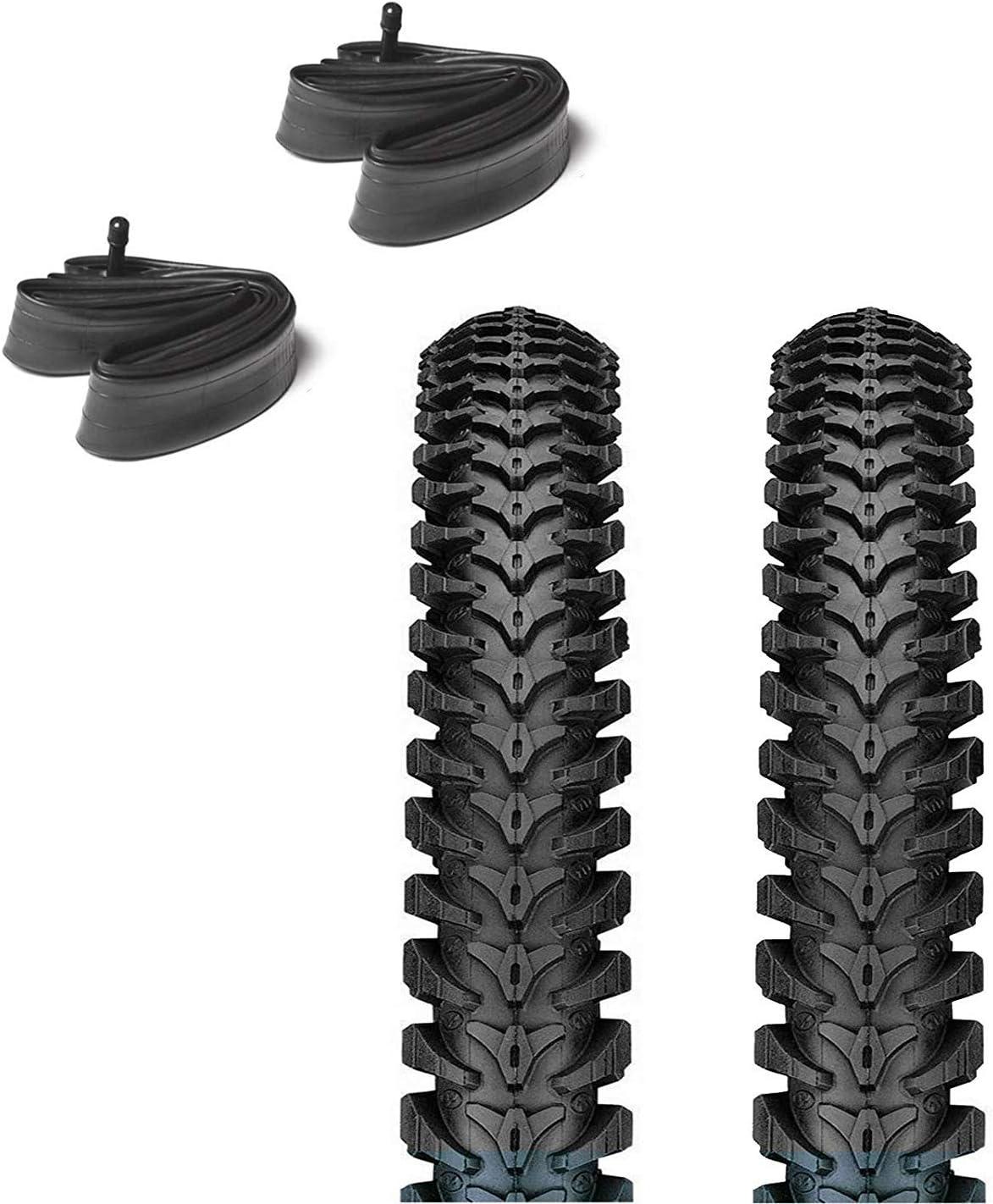 57 x 254 pour Enfants VTT etc. ASC Lot de 2 pneus et Chambres /à air pour v/élo Tout-Terrain avec Valve Schrader 14 x 1,95