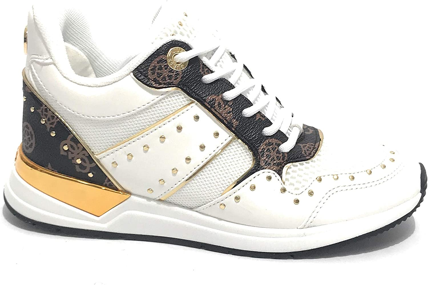 Guess Scarpe Donna Sneaker Running Rejjy in Ecopelle/Tessuto Bianco/Brown DS20GU03 Animalier