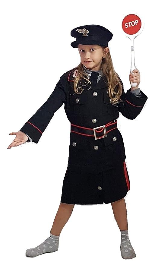 PICCOLI MONELLI Costume carabiniere Bimba 9 - 10 Anni Vestito Poliziotto di  Carnevale con Accessori Paletta 2602c3ce6f06