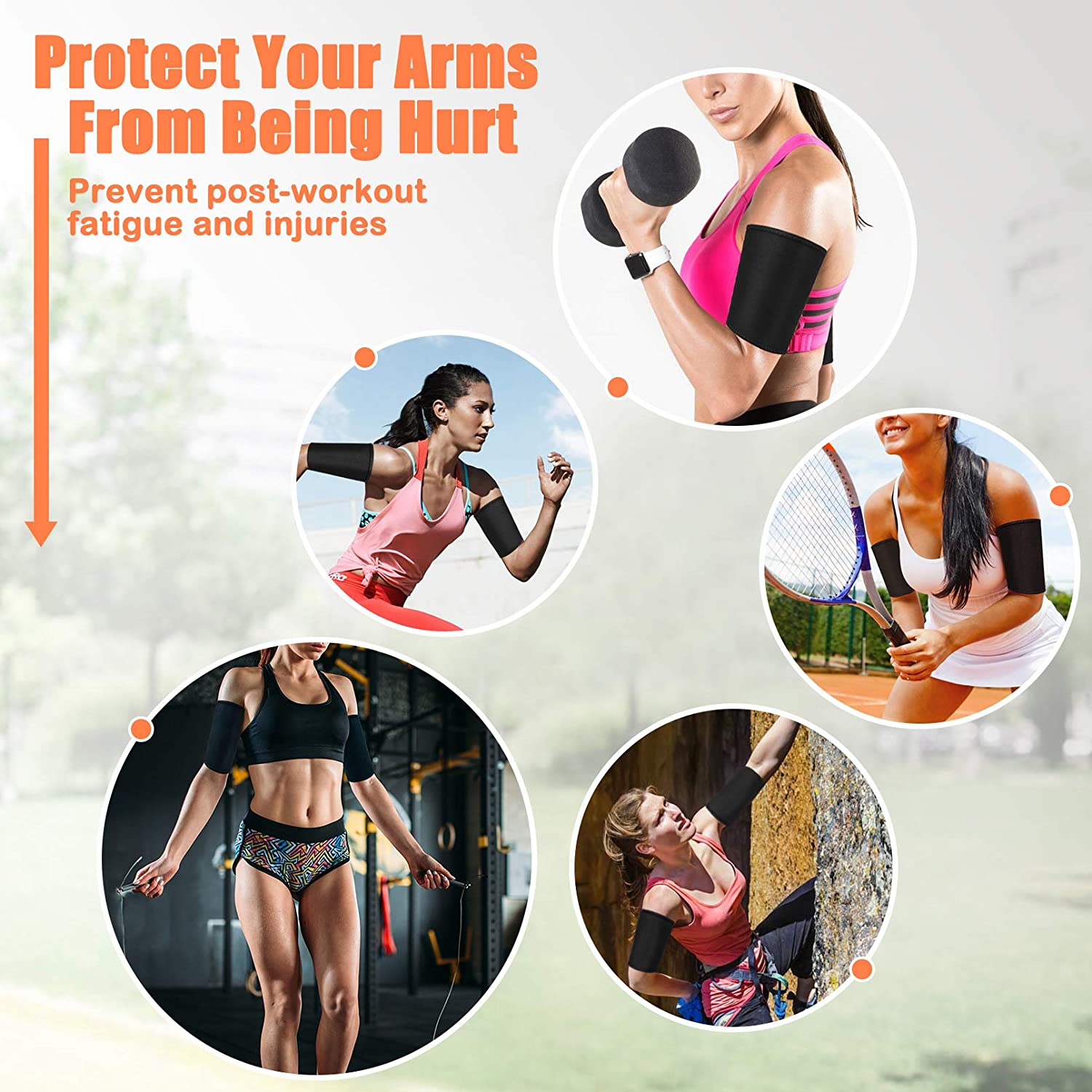 WUQID Arm Weights for Women Flabby Sauna Arm Trimmers Shapers Slimming Lose Arm Fat Arms Accelerate Sweat for Women Men