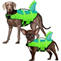 Durable Dog Life Jacket, Adjustable Ripstop Pet Safety Vest, Dog Lifesaver with Rescue Handle for Small Medium or Larger…