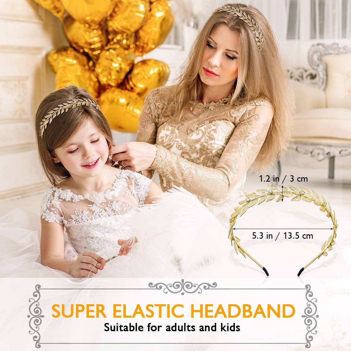 Gold Crown Headbands for Women Greek Gold Leaf Headband Cover Bridal Wedding Headpiece Hair Accessories