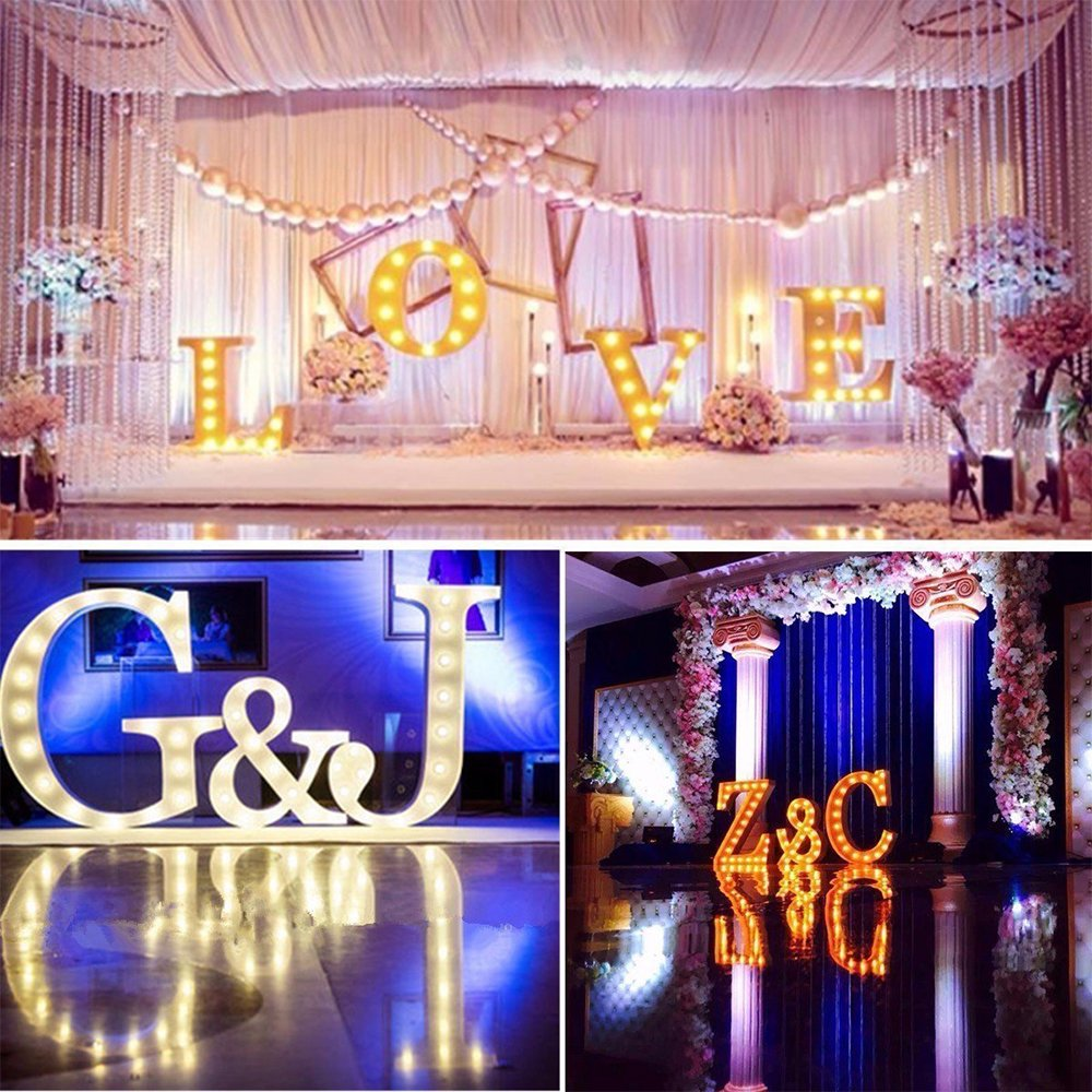 Kerong DIY LED Light up Wooden Alphabet Marquee Letter Lights for Festival Decorative Home Party Wedding Scene Holiday Birthday Christmas Valentine,Battery Operated Warm White (T) by Kerong (Image #7)