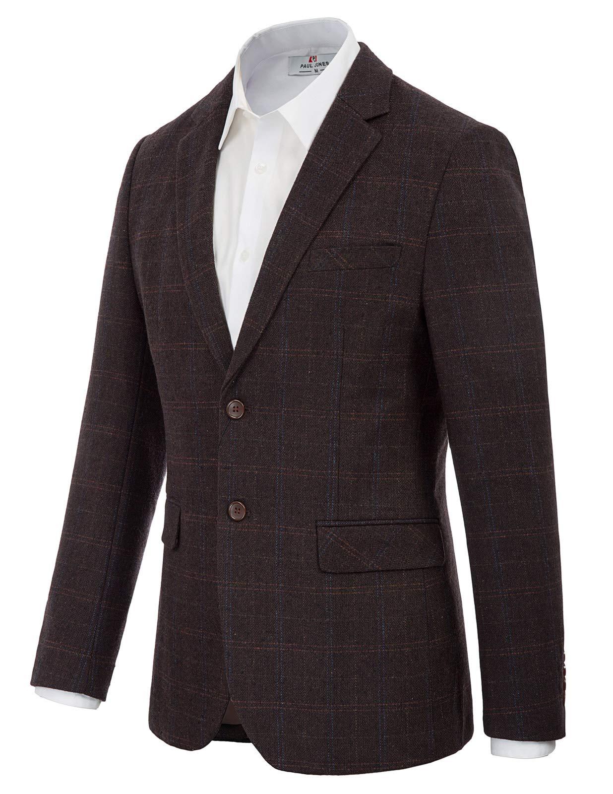 Men's Blazer Jacket Tweed Coat Formal Dinner Wool Blend Suits Dark Coffee XL by PJ PAUL JONES