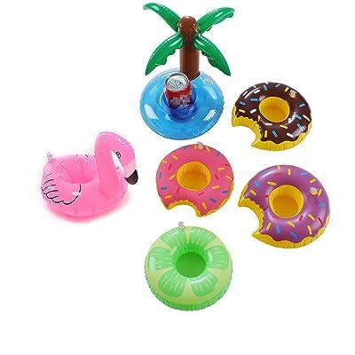 6PC piscine Tasse flotteur Supports Tasse Flotte Dessous-de-verre Licorne Float Flamingo Porte-gobelets Donut Fruits Porte-gobelets de piscine gonflable