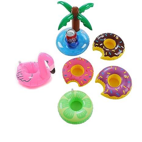 6 pc flotadores de piscina flotador portavasos copa posavasos Unicorn flotador Flamingo soportes para bebidas frutas