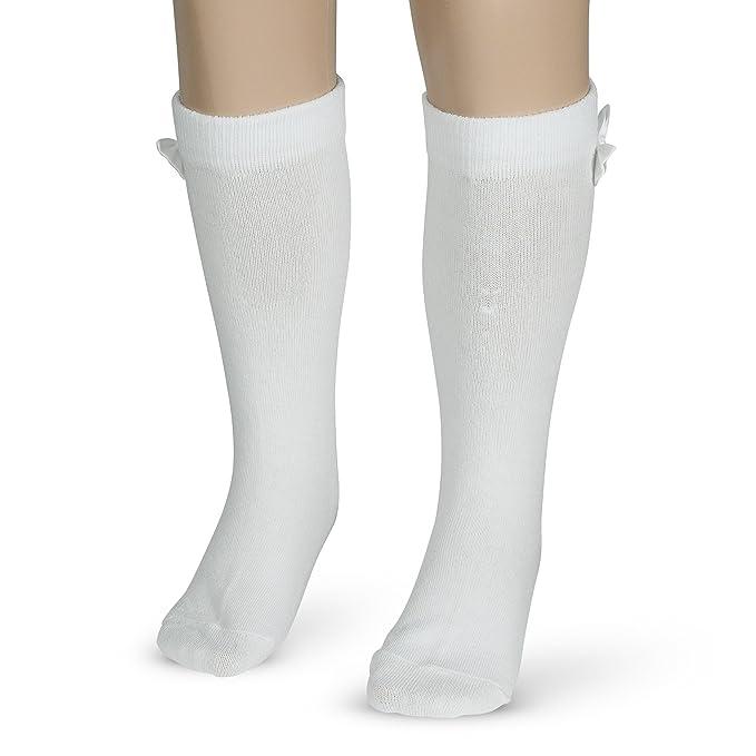 Morefaz - Calcetines hasta la rodilla - para niña blanco blanco