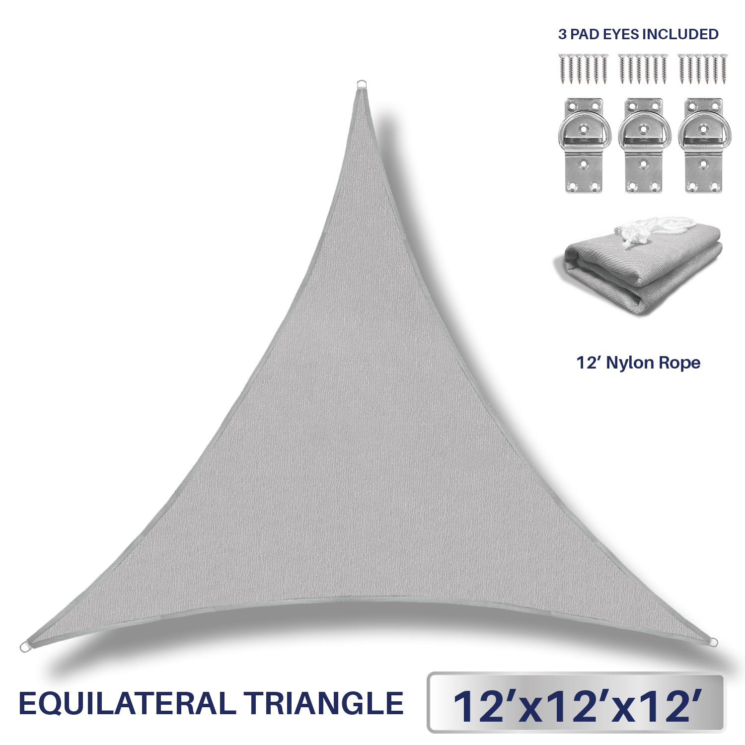12' x 12' x 12' Sun Shade Sail UV Block Fabric Canopy in Light Grey Triangle for Patio Garden Patio 3 Pad Eyes Included Customized Sizes Available (3 Year Warranty)