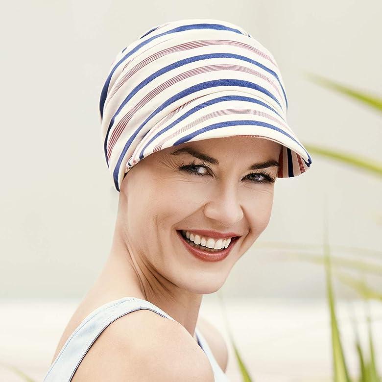 Gorra oncológica drapeada de algodón con visera y protección solar ...