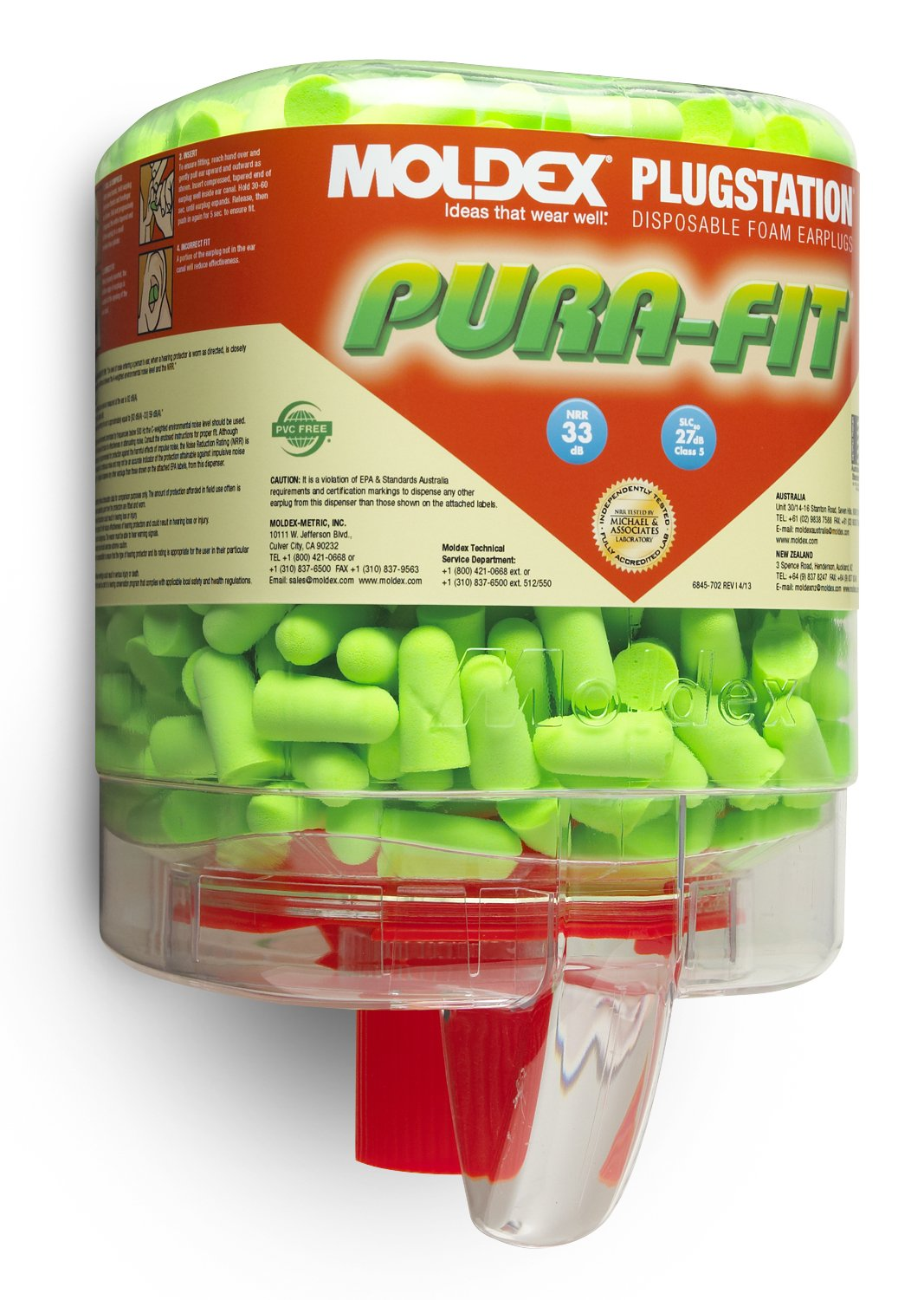 Moldex M6844 Pura-Fit Earplugs, Long Length (250 per Dispenser)