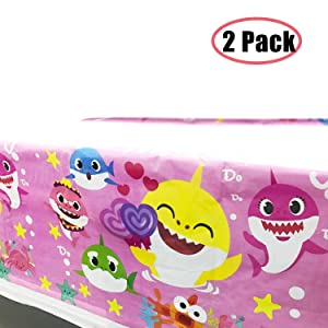 """Baby Cute Shark Table Cloth Party Supplies Decorations - Baby Shower Shark Birthday Tablecloth Décor Covers Plastic 70"""" x 42"""" (Pink, 2 Pcs)"""