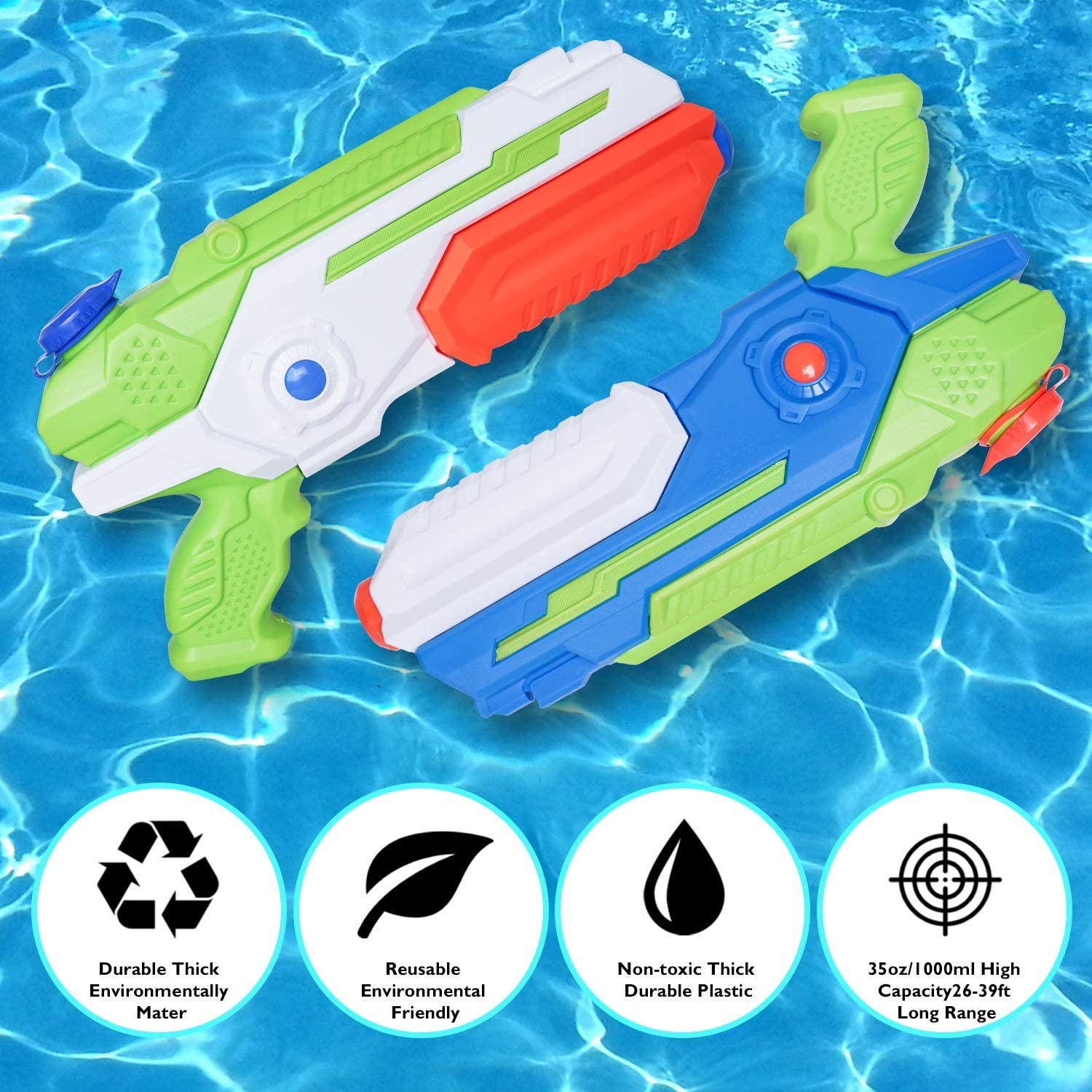 MOZOOSON Water Gun for Kids, 2x1000ccc Super Squit Water Soaker Blaster Pool Water Toys for Kids Outdoor Fighting Play Beach Sand: Toys & Games
