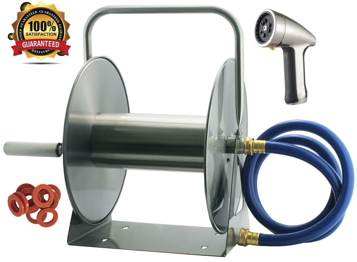 3-in-1 Deluxe Combo: Stainless Steel Garden Hose Reel with ...