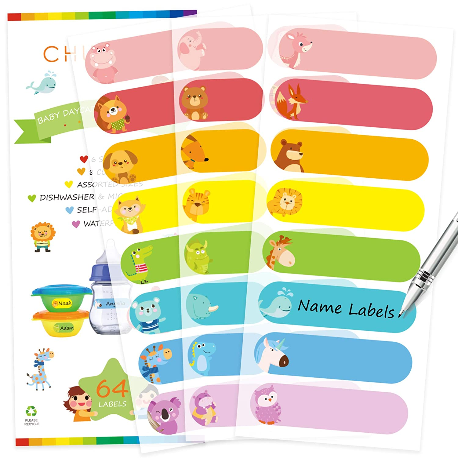 Baby Bottle Labels Waterproof Write-On Name Animals Pattern 4 sheets 64 Labels