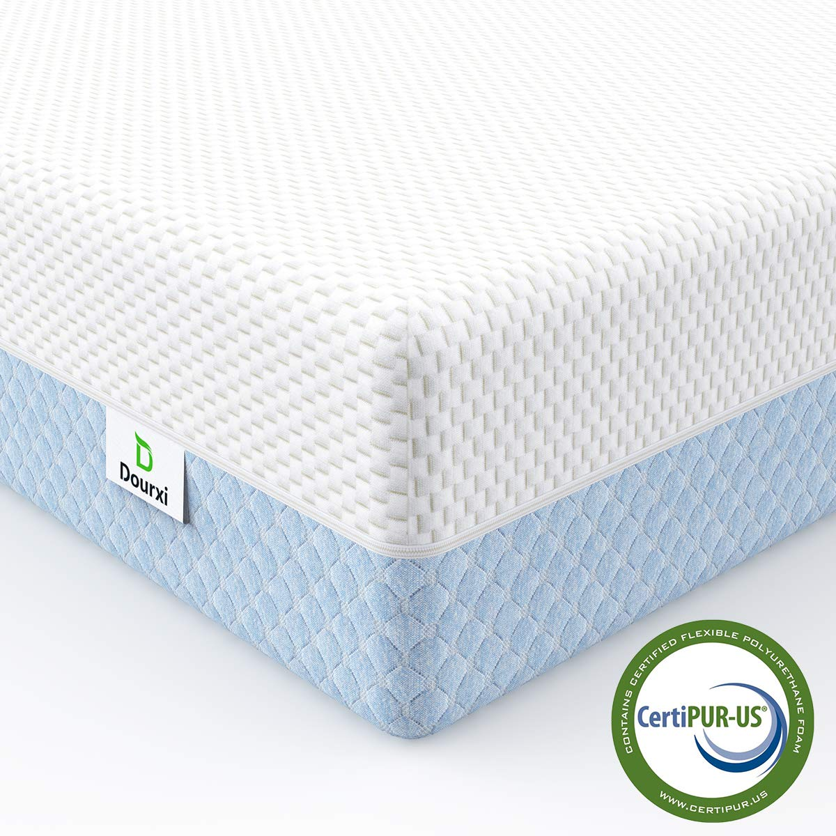 Dourxi Crib Mattress, Dual Sided Comfort Memory Foam Toddler Bed Mattress, Triple-Layer Breathable Premium Baby Mattress for Infant and Toddler w/Removable Outer Cover - White&Blue by Dourxi