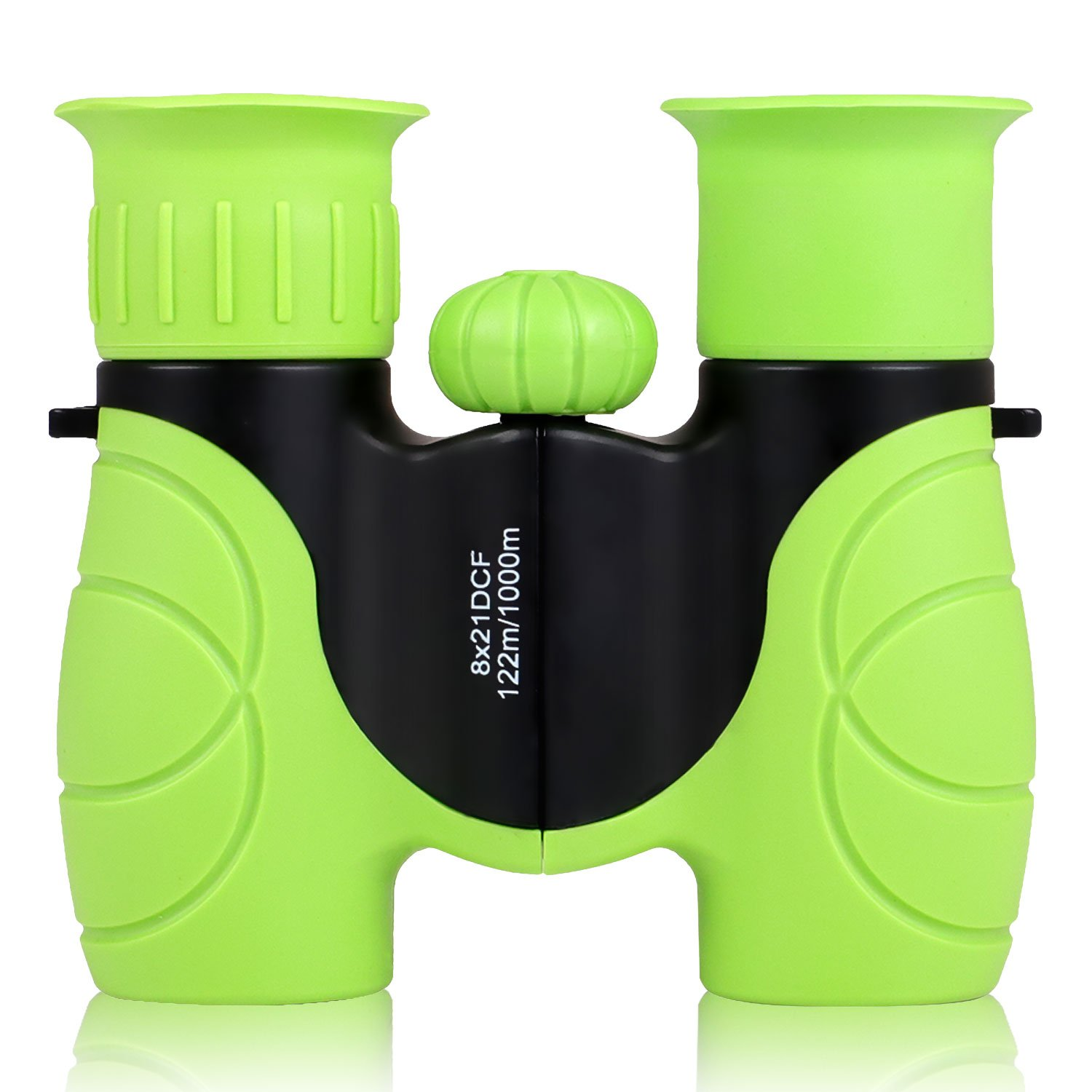 8 x 21 Compact Binoculars with Protective Rubber for Bird Watching Green Kids Binoculars Foldable and Easy Focus for Boys and Girls Hunting