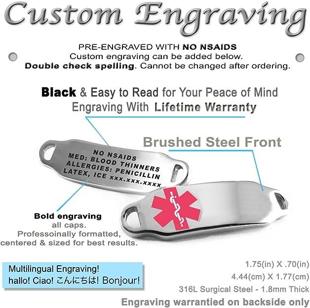 My Identity Doctor Steel Raindrop Pre-Engraved /& Customized Leukemia ID Bracelet Black Symbol