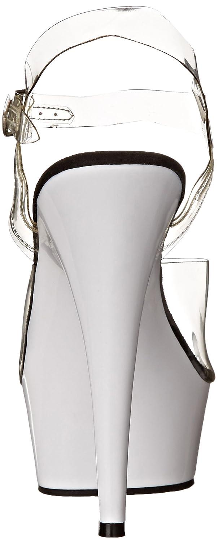 Pleaser Women's Delight-608UV/C/NW Platform Sandal B000Q3FQKU 6 B(M) US|Clear/Neon White