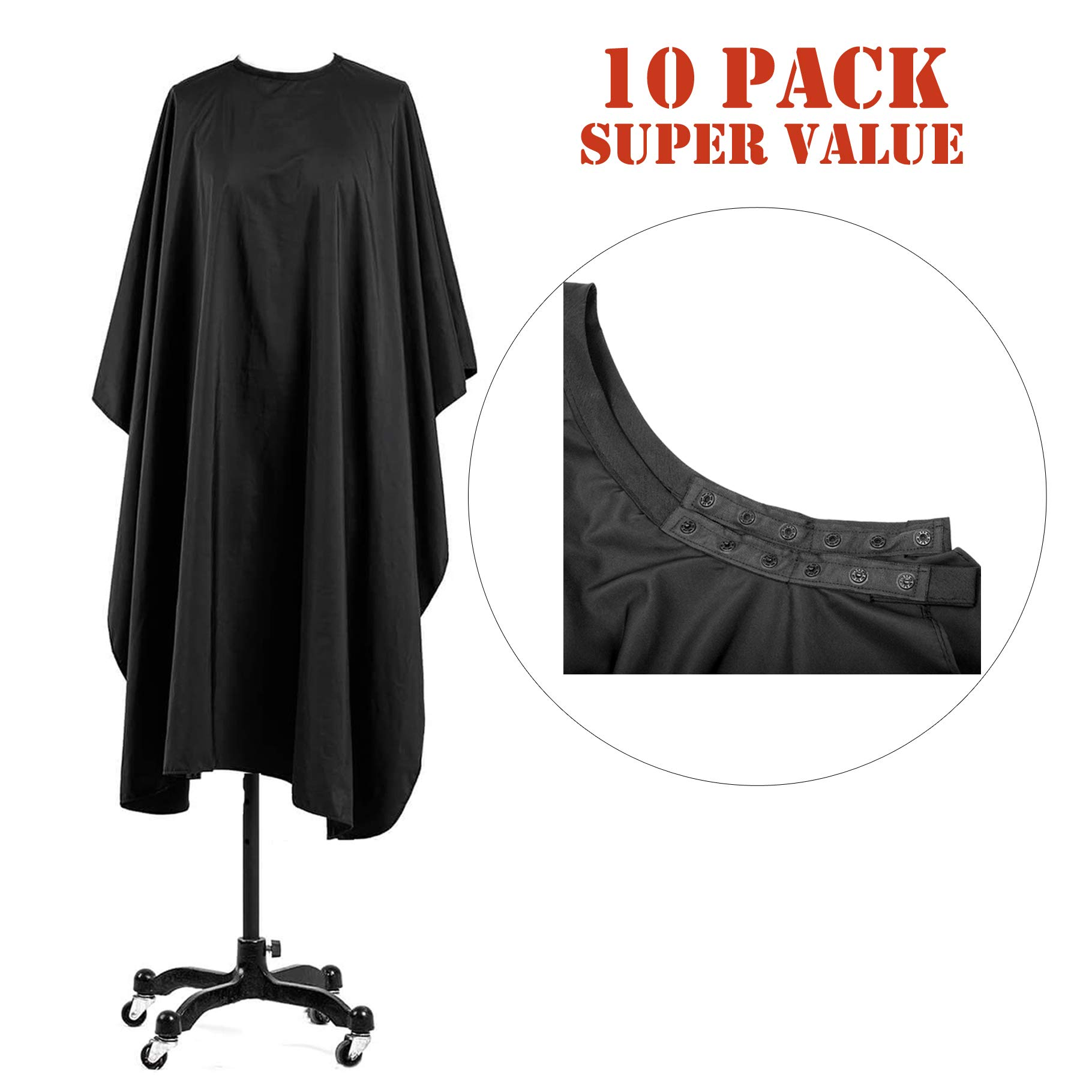 Coobi Professional Hair Salon Nylon Cape with Snap Closure 62'' x 50'' Black-10 Pack by Coobi