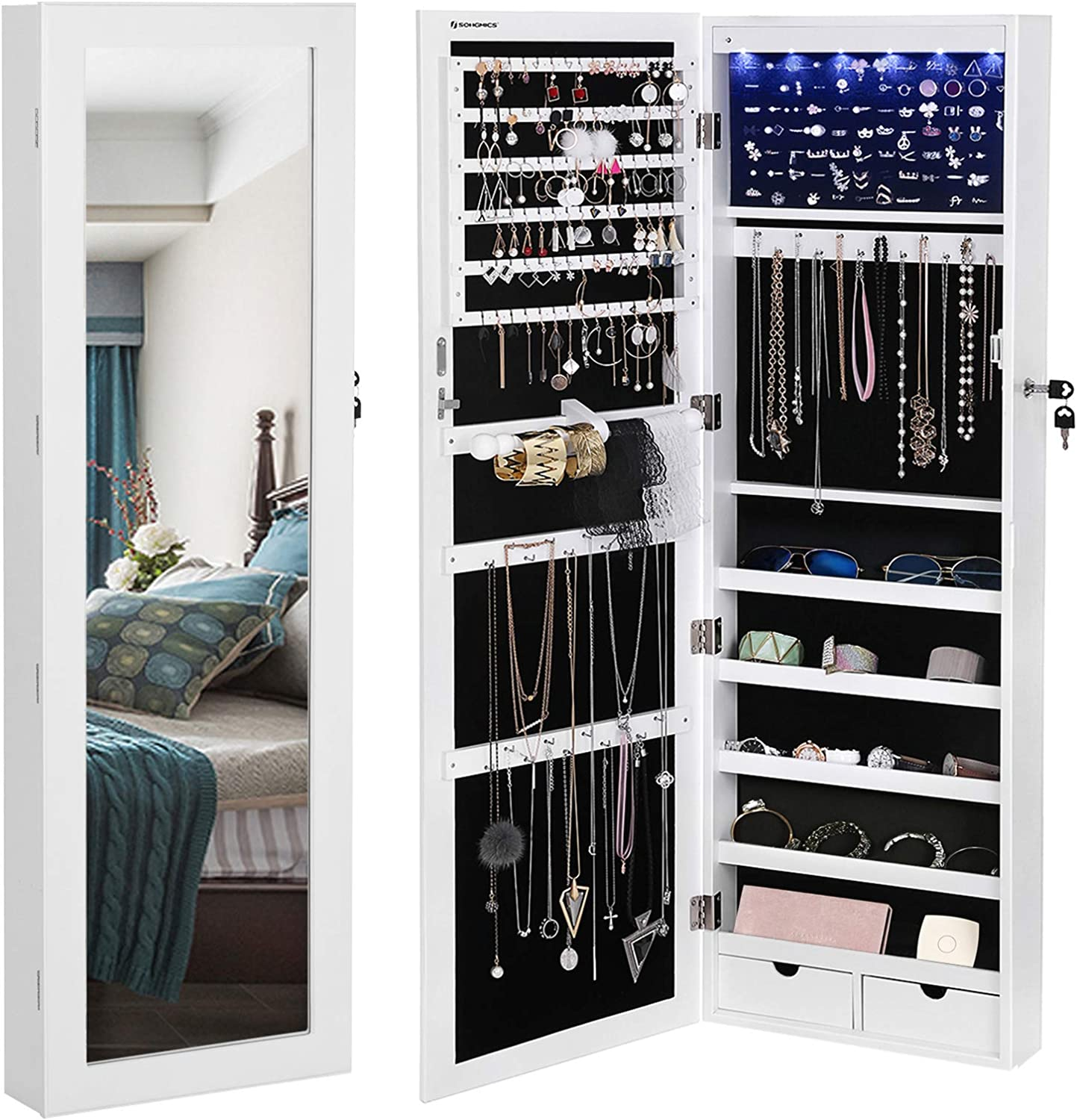 SONGMICS 6 LEDs Cabinet Lockable Wall/Door Mounted Jewelry Armoire Organizer