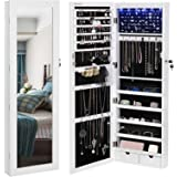 "SONGMICS 6 LEDs Cabinet Lockable 47.3"" H Wall/Door Mounted Jewelry Armoire Organizer with Mirror, 2 Drawers, Pure White UJJC93W"