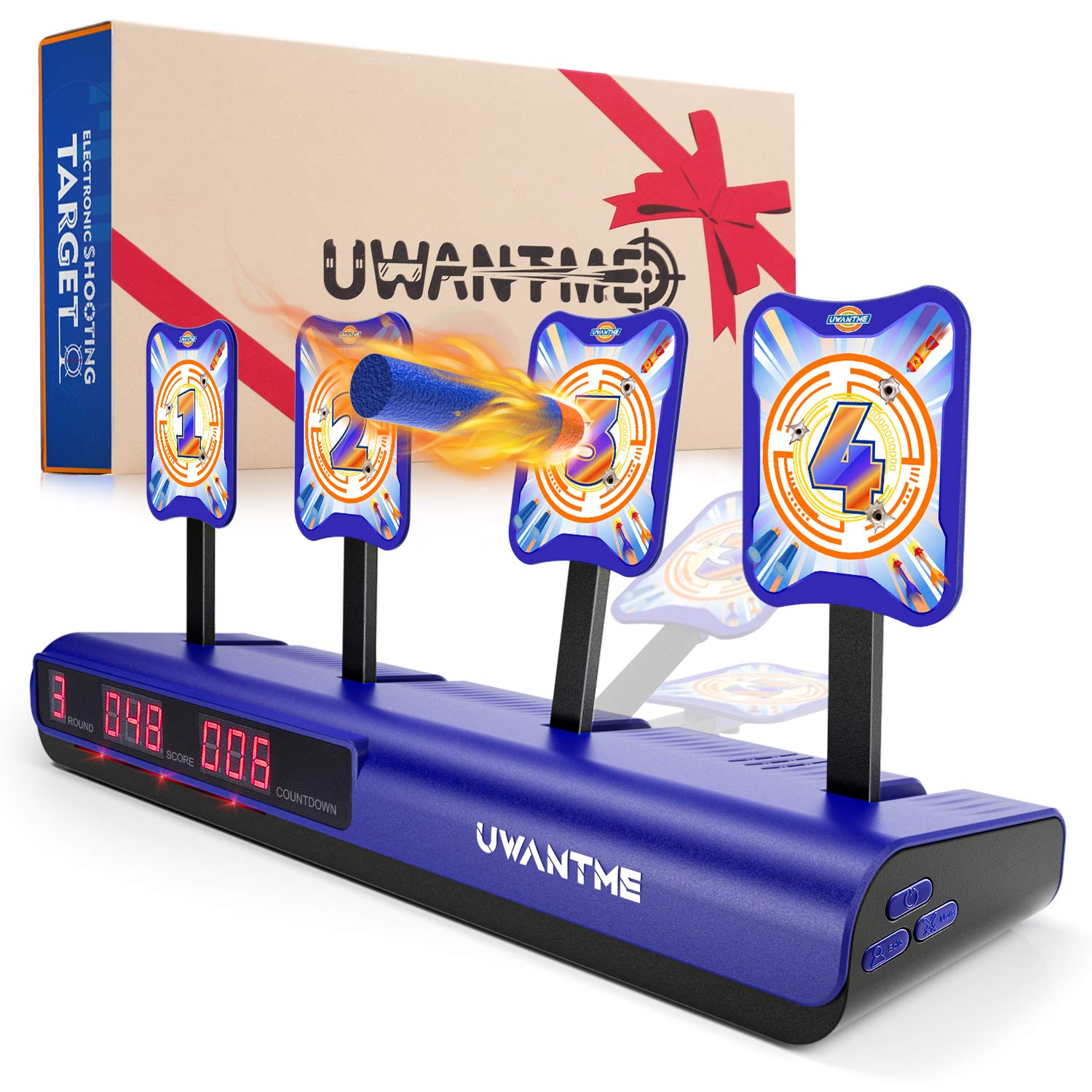 UWANTME Electronic Shooting Target for Nerf Guns Toys Scoring Auto Reset Digital Target Toys for Kids Boys Girls