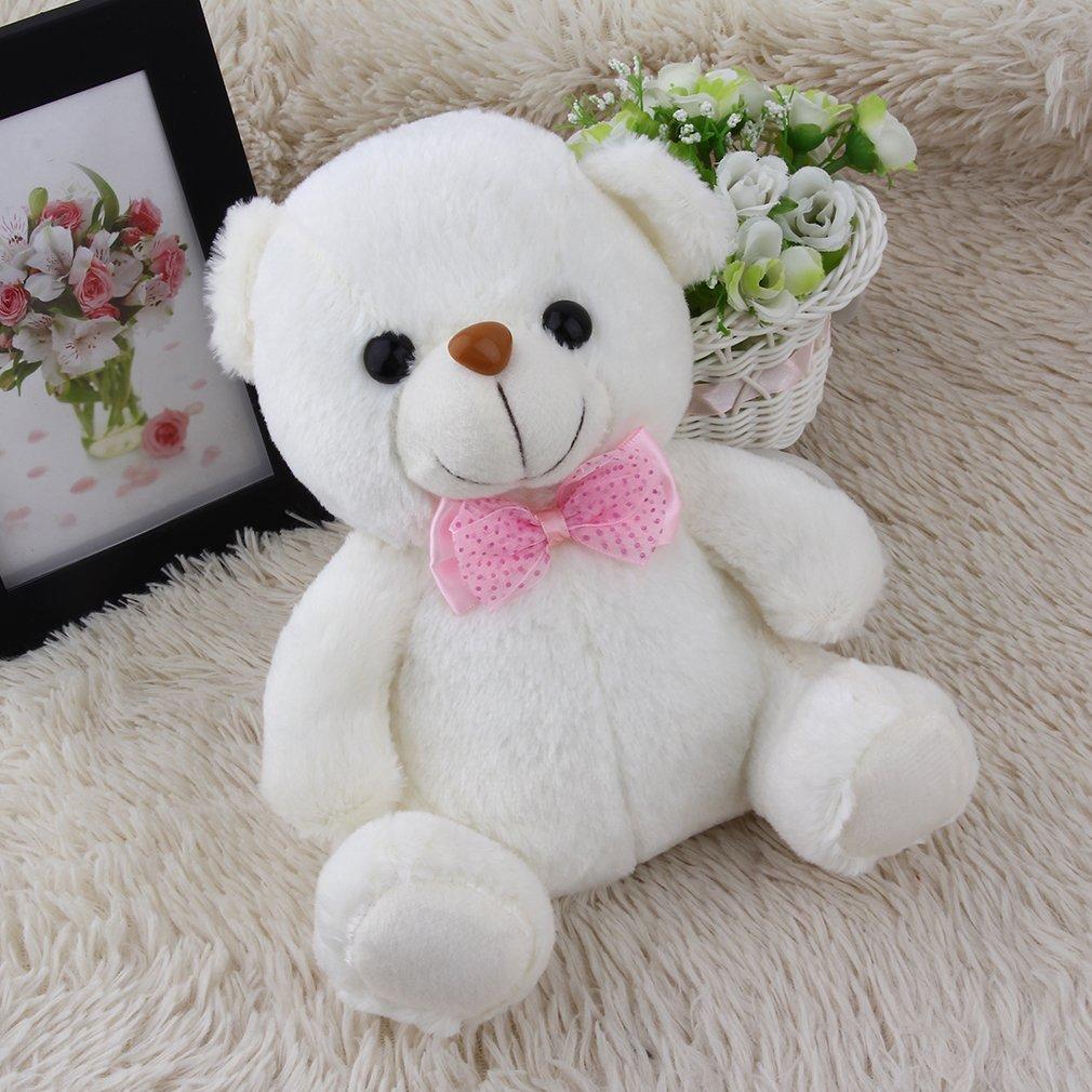 Bianco FairytaleMM Super Cute 20cm Lovely Soft LED Colorful incandescente Mini Teddy Bear Peluche farcito Peluche Regali per Il Compleanno