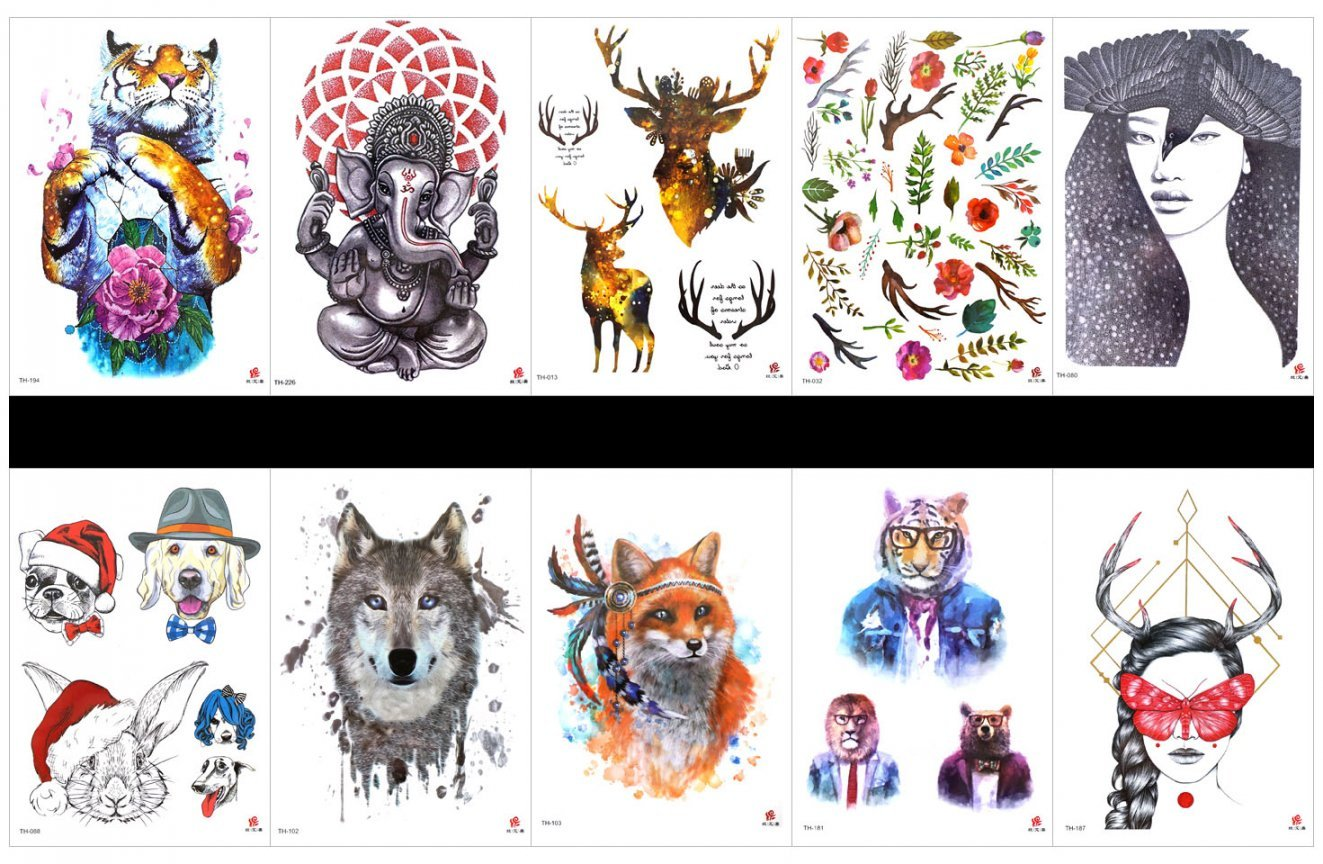 SPESTYLE 10pcs tattoo tiger tattoos waterproof and non toxic real fake tattoos in 1 packages,including tiger,lady,dog,cat,rabbit,wolf,Mr.Tiger,beautiful lady,elephant,deer,flowers,leaves,etc.