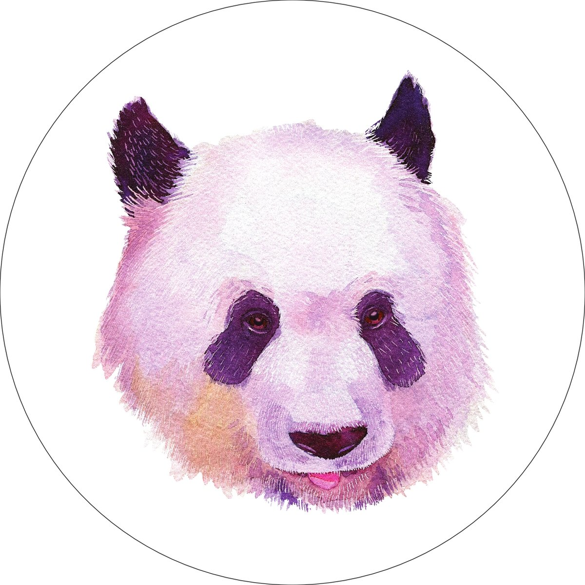 Panda Home Wall Shelf Decor Animal Decorations Watercolor Round Sign - 12 Inch, Metal