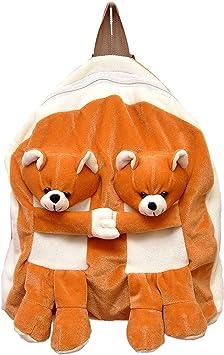Pearl world Soft Plush Twins Teddy Bear Cartoon School Bag